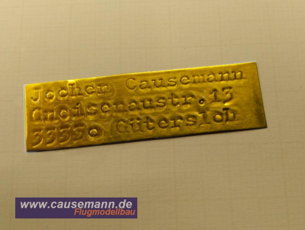Namensschild für Flugmodelle und Copter, 1,00 €