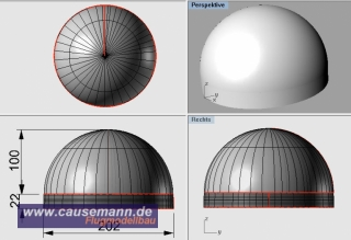 Haube für Multicopter D=202mm PET-G 1,5mm klar
